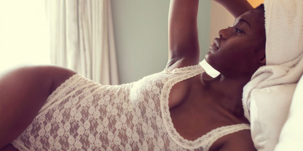 Belly and femining energy black woman in woman lingeries | The Sublime Woman