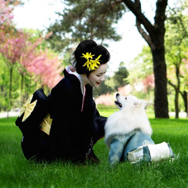Geisha Rules for Western Woman beautiful Geisha and the dog in the park | The Sublime Woman