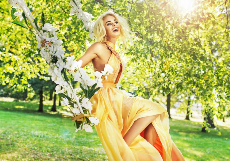 Practice Woman's Manipura Rebirth beautiful blonde woman in yellow dress | The Sublime Woman