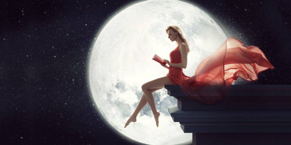 Three Levels Of Moon Energy beautiful woman in dress with the Moon   The Sublime Woman