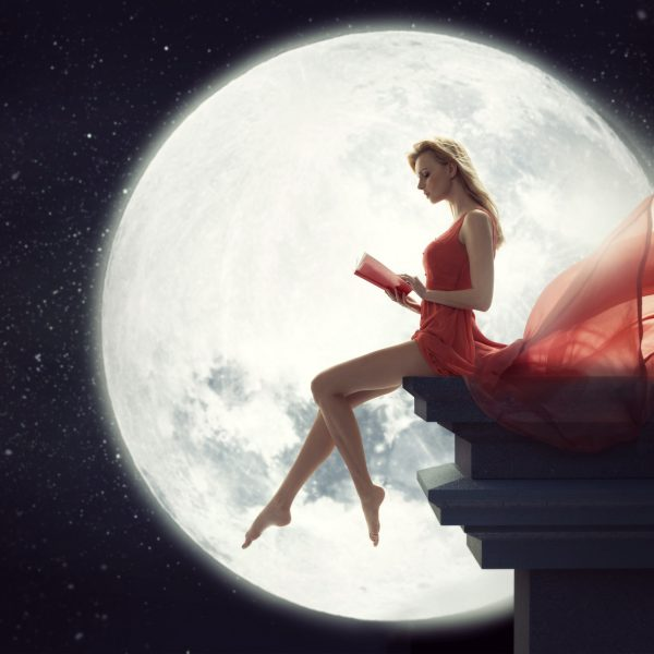 Three Levels Of Moon Energy beautiful woman in dress with the Moon | The Sublime Woman