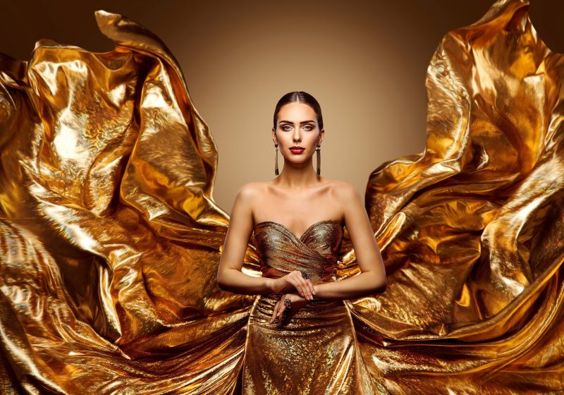 Daily Woman's Practices Thursday, Day of Jupiter, Gorgeous Beautiful woman in a golden gold dress, The Sublime Woman