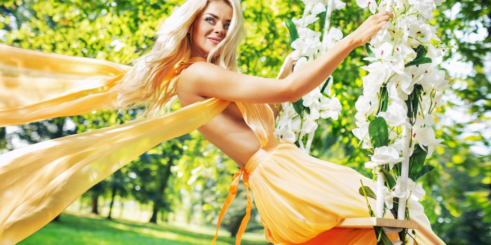 Daily Woman's Practices Sunday, Sunday Rituals and Practices for Women, Woman's Sunday Practices, Beautiful blonde girl in yellow dress sunny, The Sublime Woman